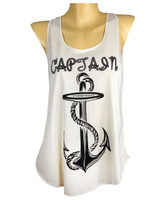 Front - Captain anchor tank top for lady sailors black frontal print on cream material