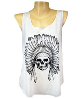 Front - Red Indian chief skull lady tank top printed with black on front