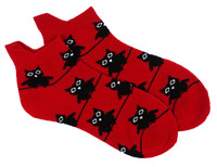 Big eyed owl socks red