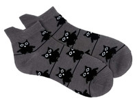 Big eyed owl socks grey