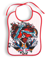 Mom dad hearts six bunnies bib
