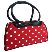 Big white dots on red bowling bag