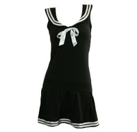 Front - Navy stripes u-neck pin up black and white