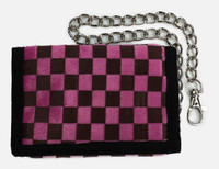 Checked light pink-chocolate fluffy with chain wallet