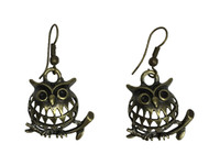 Chubby Owls On Branch - Animal Pendant Earrings