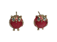 Chubby owl red gold angry crystal eyes