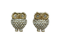 Chubby owl white gold big crystal eyes