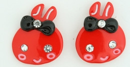 C cute bunny red colorful stud