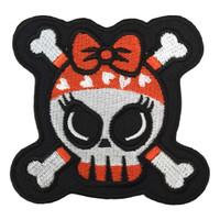 Cute skull red and black bones