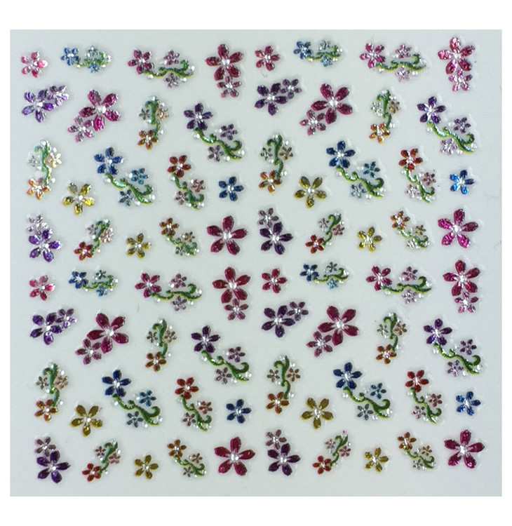 Colorful flowers art 2 - nail stickers