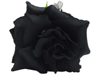 Black rose double hair flower clips