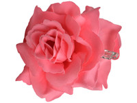 Pink Rose Double Hair Flower Clips
