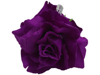 Purple rose double hair flower clips