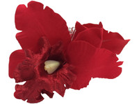 Red orchid double hair flower clips