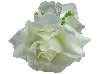 White rose double hair flower clips
