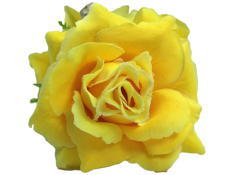 Yellow rose double hair flower clips