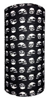 Small white skulls on black - multi headwear