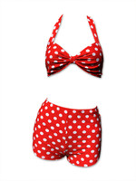 Dots big on red bikini pin up