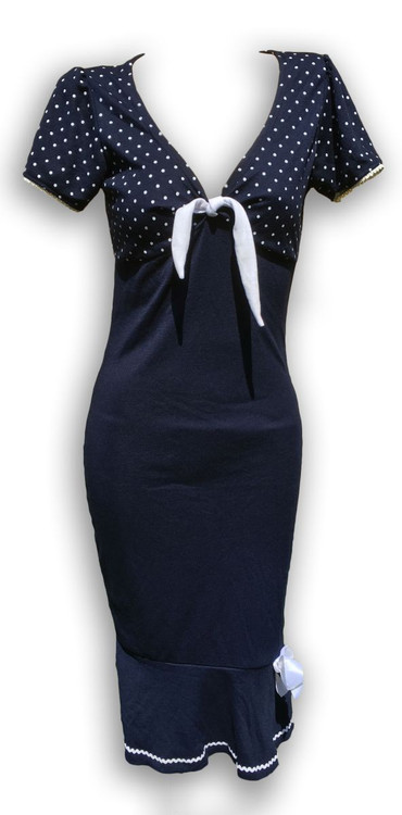 Dress layer navy blue dots white bow marilyn dress