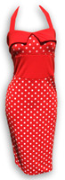 Dress waist big dots on red fashion dress