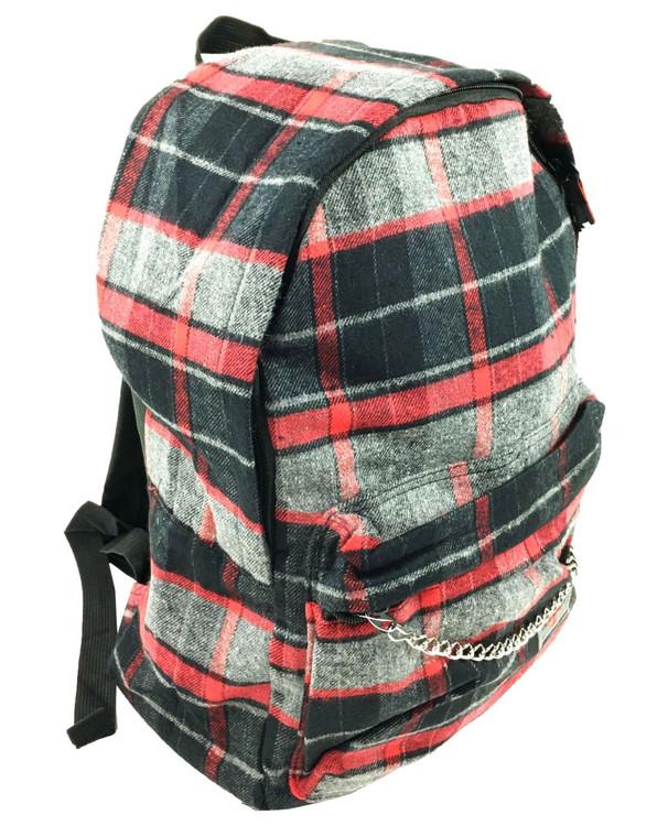 Black grey-red check rucksack