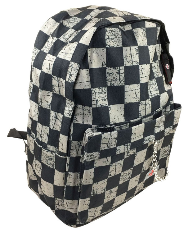 Scratched check big black-grey check rucksack