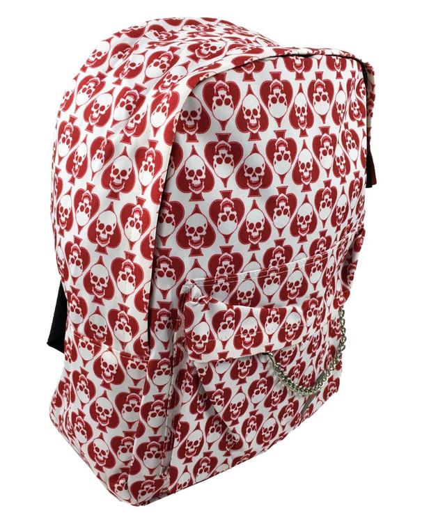 Spade happy red skull on white mix rucksack