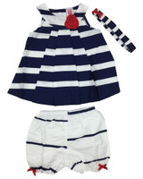 Baby kid set - stripe navy blue