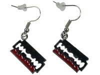Razor red silver mix earring pendant