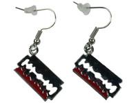 Razor red silver mix earring pendant