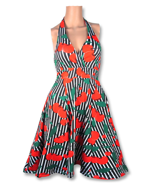 Cherries stripes monroe dress liquorbrand