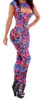 Front - neon graphic maze print catsuit