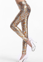 Orange metallic look serpentine tight pant