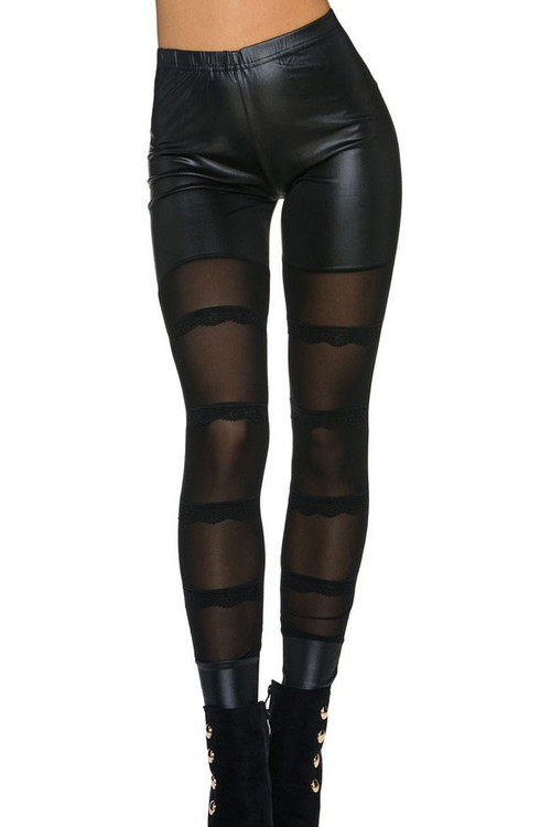Front - Black sheer mesh detail skinny