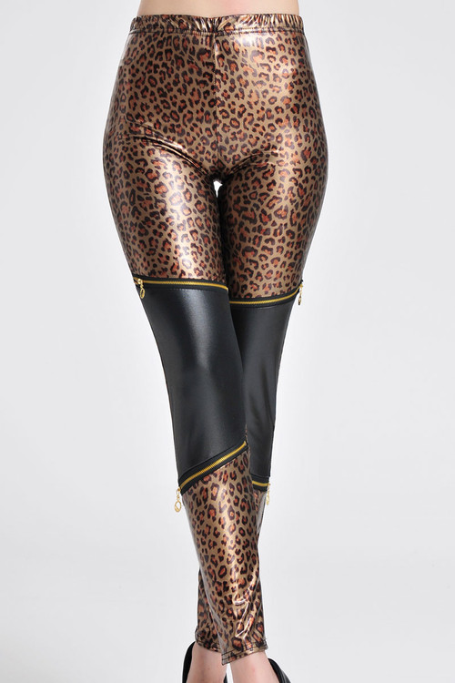 Front - Wet look leopard print with zipper decor