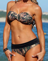 Camo cheeky banded bathing suit