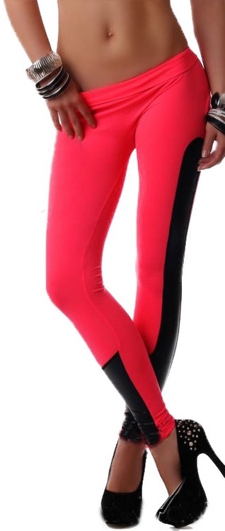Faux leather trim red stretch