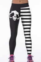 Front - White stripe skull digital print elastic sports yoga pants
