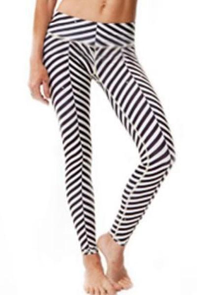 Front - White stripes digital print sports stretchy yoga