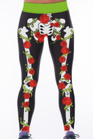 Front - Rose skeleton high waist gym yoga pants