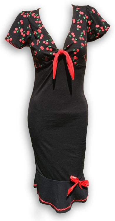 Layer black sweet cherry red bow marilyn dress