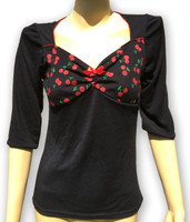 Black sweet cherry red bow fashion