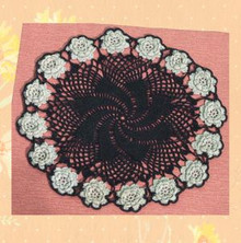 Black and silver cotton doily