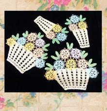 Set of 7 cotton floral doilies