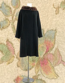 Black cashmere and mink overcoat