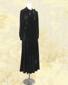1930s Black silk velvet gown