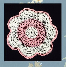 Perky pink and white doily