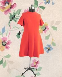 1970s textured blood orange A-line dress