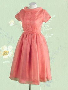 Cute 1950s pink silk organdy dress