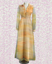 Chiffon and satin 1970s designer gown
